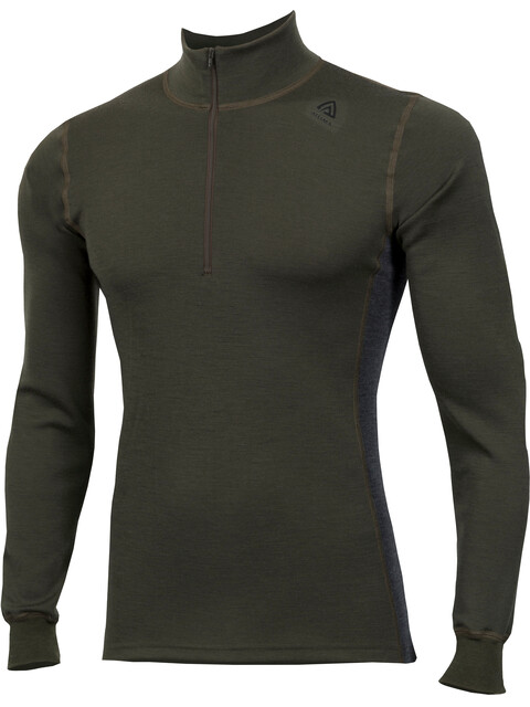 Aclima M's WarmWool Mock Neck Shirt Olive Night/Marengo